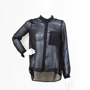 ZARA Black See Through Sheer Chiffon Blouse S